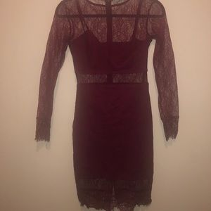 Deep red lace dress